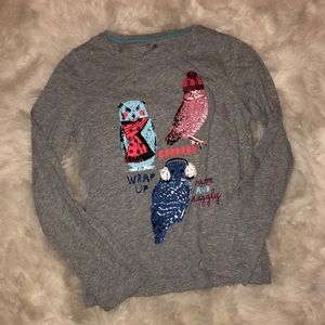 EUC Gap Kids Owl glitter graphic t-shirt XXL